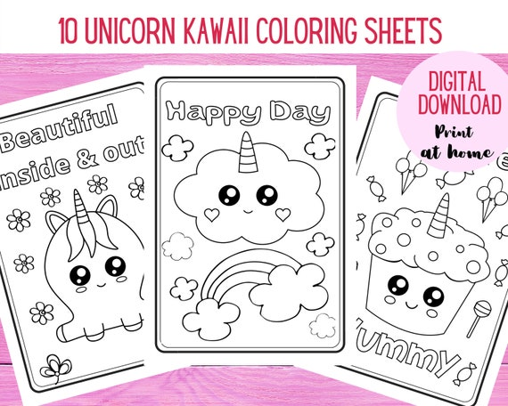 Unicorn Coloring Pages. 10 cute unicorn Kawaii coloring