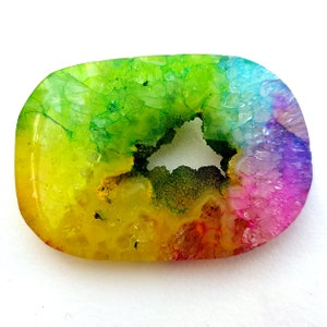 Natural Solar Quartz Window Druzy Cabochon Crystal Minerals 147 Carat 54x49x5 MM For Jewelry Making Big Size Top Quality