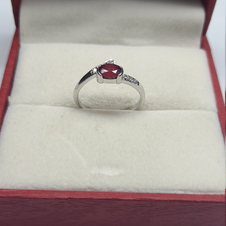 925 Sterling Silver Ring* Ruby and Cubic Zirconia Ring* Minimalist Ring* Birthstone Ring* Danity Ring* Stacking Ring* 3-12 US Sizes