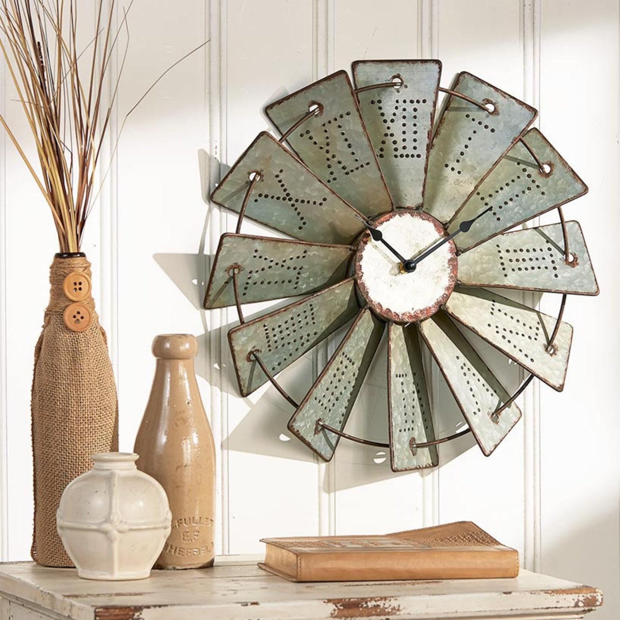 Windmill Wall Art Metal Windmill Wall Clock, Farmhouse Wall Decor