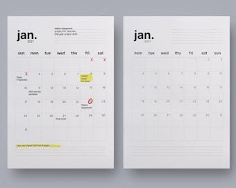 2021 Printable Calendar | Minimalist Calendar PDF | Minimal Monthly Calendar JPG | Monthly Planner Minimal | Printable school planner 2021