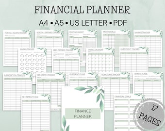 Printable Finance Planner, 17 Page Printable Budget Planning, Greenery Leaf Monthly Expenses Tracker, Monthly Budget, PDF A4, A5, US Letter