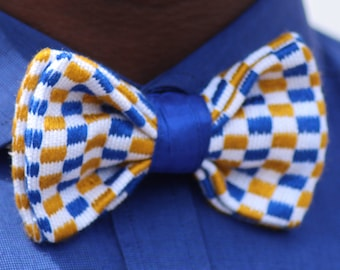 Blue and yellow white bow tie