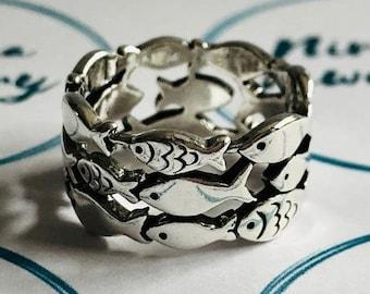 Silver Fish Ring, Swimming Fish Ring, Sea Ring, Ocean Ring, Adjustable Ring, Sizeable Ring