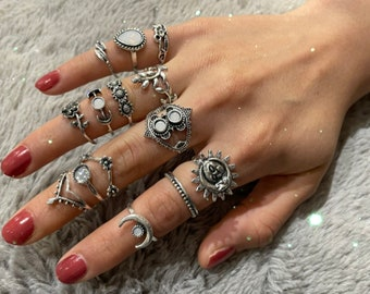 14 Piece Vintage Silver ringset Sun Moon Leaf Charm Ring set for Women Gift for her stainless steel rings tarnish free ring set