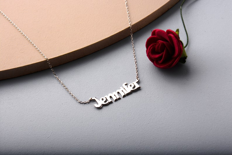 14K Solid Gold Custom Name Necklace  Gift For Her  New Mom Gift  Personalized Name Necklace  Bridesmaid Gifts