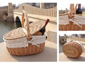 New Wicker Basket with Handle Wicker Camping Picnic Basket with Double Lids Storage Hamper Basket with Cloth Lining