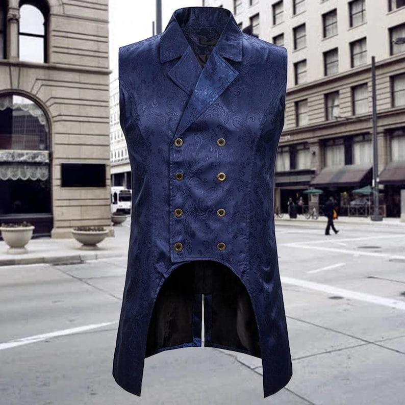 Mens Gothic Tuxedo Vest Victorian Steampunk Cosplay Waistcoat Double-Breasted Jacquard Coat Men Vest Halloween Gilet