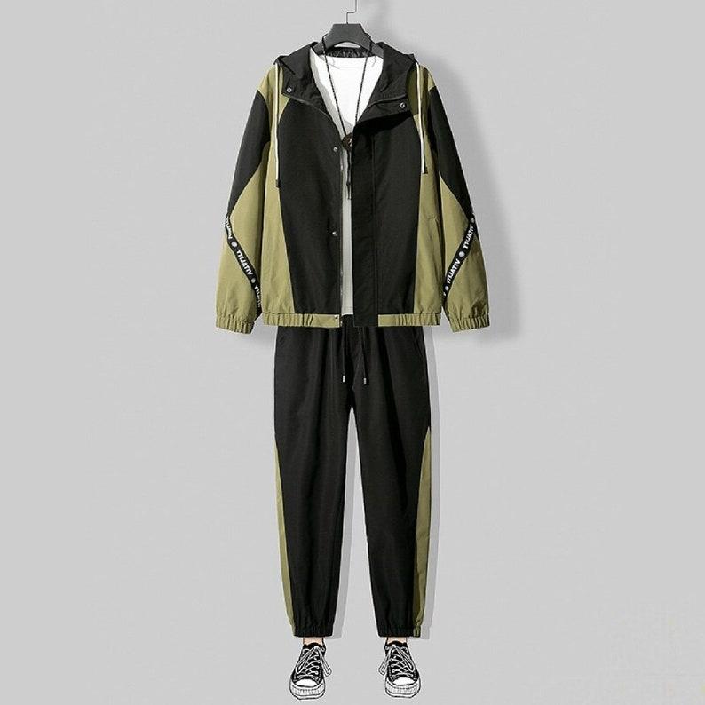 2021 Spring Autumn Workwear jacket men/'s Hooded Jacket+Pants 2PC Sets baseball loose Pullover coat /& Long Pants Mens Clothing