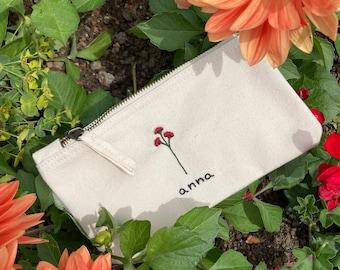 Kompliment Kulturtasche - Schminktasche - Tasche - Makeup-BAG - Bag - Statement 46 bestickte Kosmetiktasche CHEFIN mit HERZ Geschenk