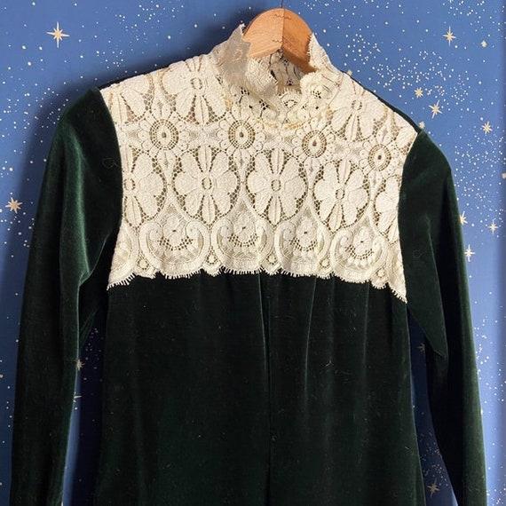 Vintage 1970s Velvet Maxi Dress in Dark Forest Gre