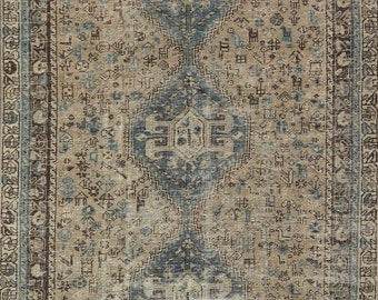 Antique Distressed Area Rug 6x10, Hand-Knotted Wool Carpet