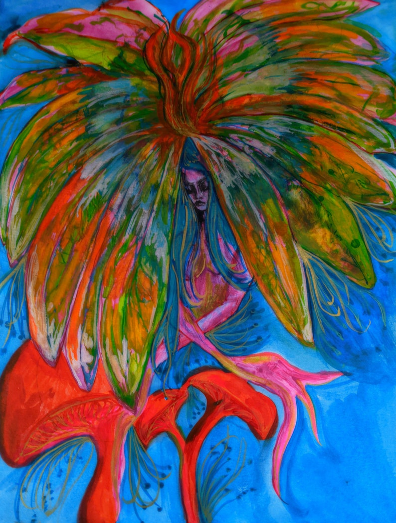 Psychedelic Whimsical Mother Earth Mushroom Flower Fairy Goddess Watercolor 1970/'s color scheme Fine Art Print