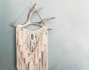 Macrame Wall Hanging   Antler Wall Hanging   Crystal Macrame   Fringe   Tassels   Cruelty Free   Home Decor