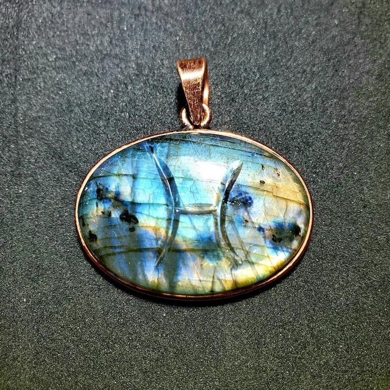 Pisces Carved Labradorite Copper Pendant