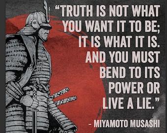 Miyamoto Musashi Poster | Japan Art Poster | Samurai Art | Quote #102