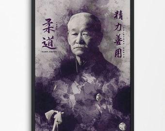 Beautiful decor Jigoro Kano Poster | Judo Poster gift for home or dojo decor.