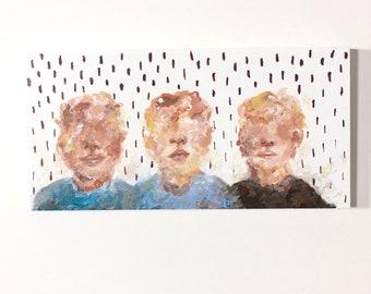 Original acrylic painting on wood Wall decoration Small painting THREE BOYS