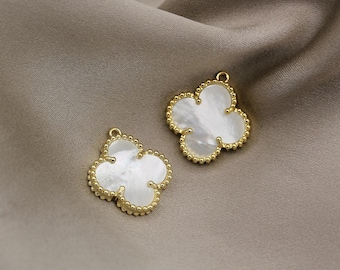 1 pairs 18k gold plated over sterling silver Vermeil Gold Small Clover Charm tiny quatrefoil lucky clover charm