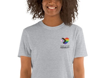Speak Up For Equality Inclusive Pride Heart w/ Black & Brown Stripes Short-Sleeve Unisex T-Shirt