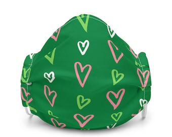 So Many Hearts Pink and Green Premium face mask