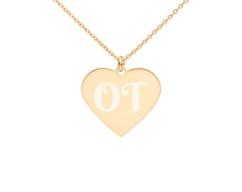 """OT Captures the Heart Occupational Therapy Engraved Silver Heart Necklace 18"""""""