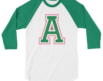 Sporty Letter A in Pink and Green AKA Inspired 3/4 Sleeve Raglan Shirt