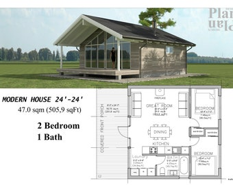 24x24 Tiny House - 2 Bedroom 1 Bath  47.0 sqm (505,9 sqFt)