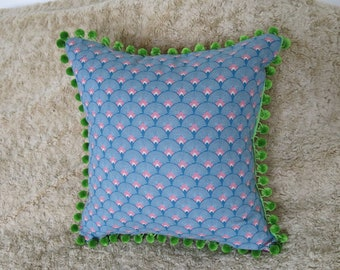 Throw Pillow Covers, Vintage Cotton/Canvas and Velvet with pompom trim Handmade Decorative Glorious Throw Pillow click for more...