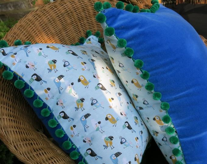 Throw Pillow Covers,  retro style bird print Cotton/Canvas and Velvet with pompom trim Decorative Luxurious Throw Pillow