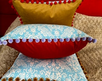 Cushion Covers, retro style paisley print Cotton/Canvas w/contrasting pompom trim & velvet on reverse giving you options!