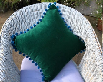 Cushion Covers, retro style bird print Cotton/Canvas w/dark Green Velvet & blue pompom trim Decorative Luxurious Throw Pillow