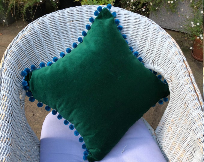 Throw Pillow Covers, retro style bird print Cotton/Canvas w/dark Green Velvet & blue pompom trim Decorative Luxurious Throw Pillow