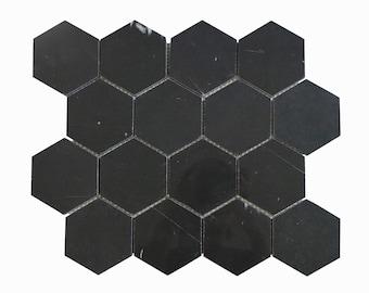 "Nero Marquina 3"" Honeycomb Marble Mosaic Tile - EST000NM60"