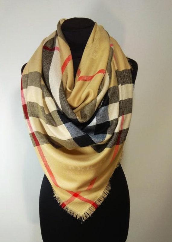 Burberry/Scarf/Check /Wool/Silk /Vintage /