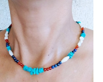Turquoise surfer necklace, sodalite, mother-of-pearl, handmade