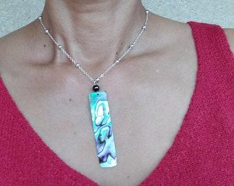 Rectangular abalone pendant on chain, handmade