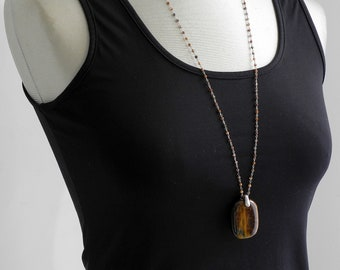 Tiger eye stone necklace necklace on handmade silver mesh