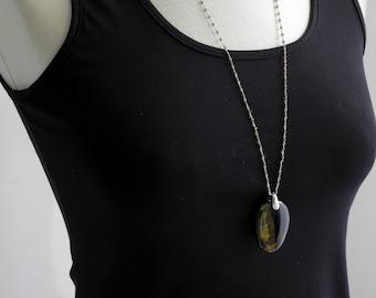 Falcon eye stone jumper necklace on handmade silver mesh
