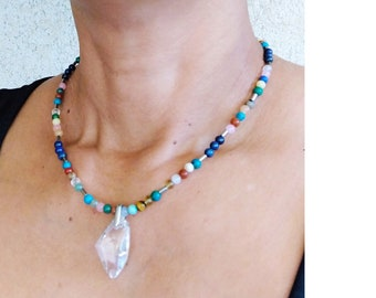 Stone necklace, hematite and handmade swarovsky crystal pendant
