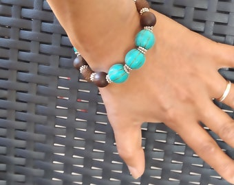 Stone and seed bracelet