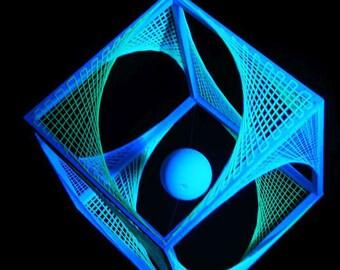 """40cm 3D String Art Deko Würfel /""""Violet Flower/"""" Neon Party Goa Blacklight UV Cube"""