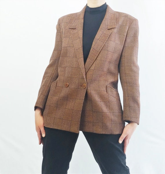 Jaeger Brown Double breasted Checkered Vintage Ove