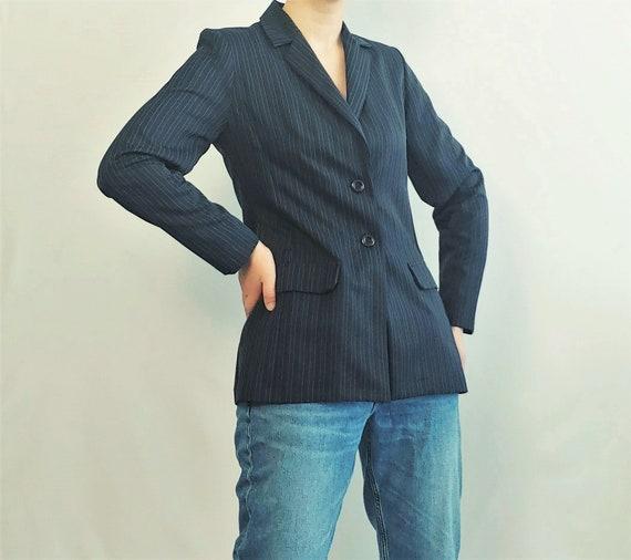 1990's Chalk Pinstripe Navy Blazer Women Medium Si