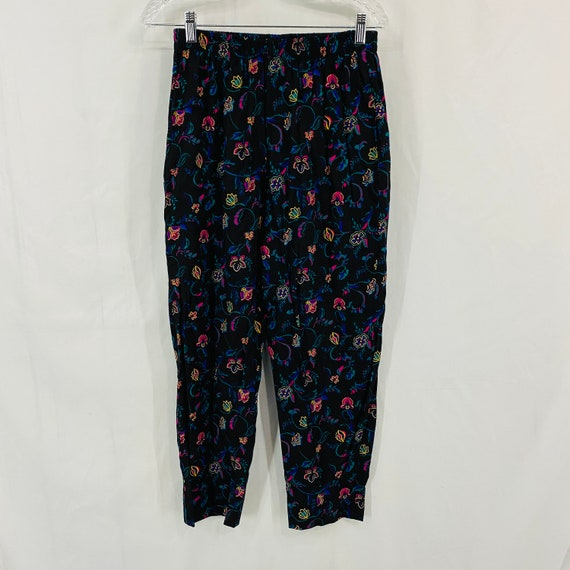 Vintags 80s Judy Knap Bold Floral Print Loose Pant