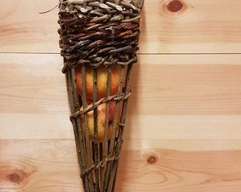 Woven willow bird feeder - garlic holder