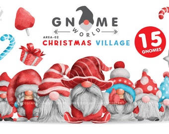 Gnome Christmas PNG Clipart Bundle, Gnome watercolor art design.
