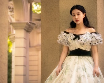 SCARLETT O'HARA Dress Gone With The Wind, Civil War Dress, Southern Belle Gown Ballgown/ Georgette overlay,satin sash,Lace & ribbon trim