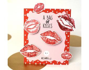 A bag of Kisses Stationary | Red Lips Sticker | Love Note | Sticker Pack | Envelope Seal | Letter sticker | Bujo Sticker | Journal Sticker