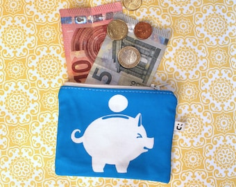 Piggy coin purse  |  Zipper pouch | Wallet | Card holder | Change | Organic cotton | Handprinted | Screenprint | Gift
